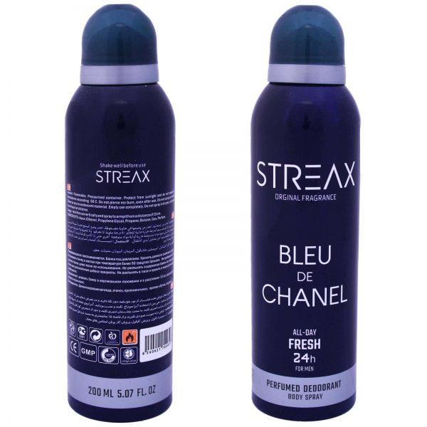 اسپری خوشبو کننده بدن مردانه استریکس مدل bleu de chanel حجم 200 میلی لیتر