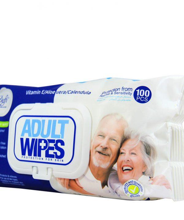 دستمال مرطوب دافی دست و صورت و بدن مخصوص بزرگسالان 100 عددی