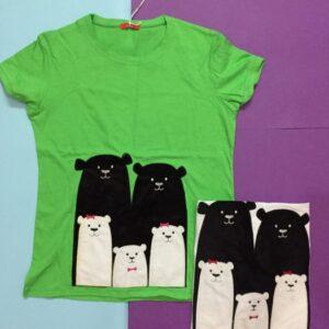 تیشرت پنبه زنانه طرح خرس خانواده