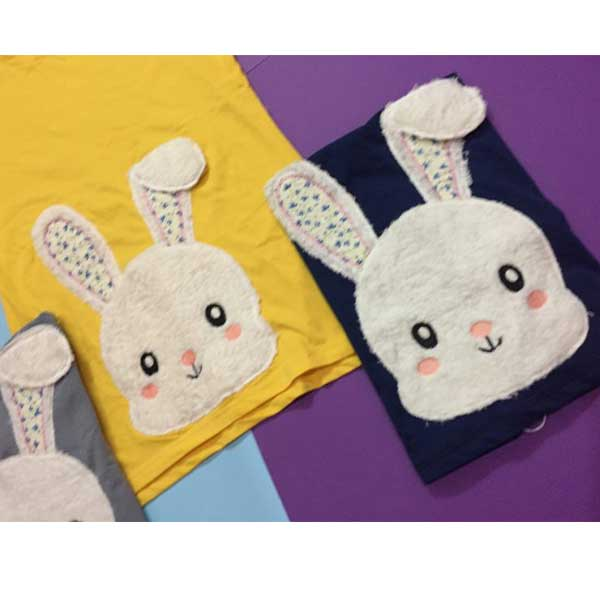 تیشرت پنبه زنانه طرح خرگوش پشمالو