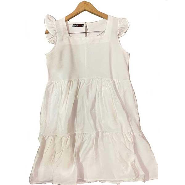 پیراهن کوتاه بابوس نخ ترک رنگ سفید