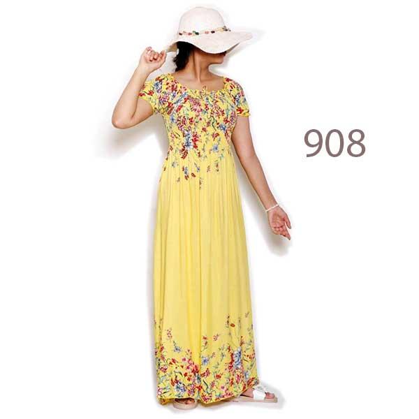 پیراهن ساحلی نخی زنانه کد 908